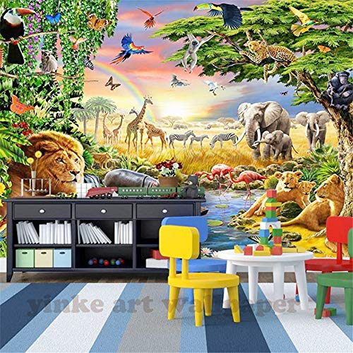 Kinderkamer cartoon achtergrond Aangepaste 3D fotobehang zeven kleurrijke weide dier leeuw wallpaper voor de kinderkamer Live 150 cm x 105 cm.