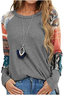 Comaba Womens Crew-Neck Floral Print Casual Leisure Long Sleeve Blouse Tees Top