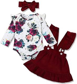 Amissz 3 PCs Bébé Fille Ensemble de Vêtement Robe Tenue Costume Mignon Barboteuse T-Shirt à Floral Manche Longue + Jupe + ...