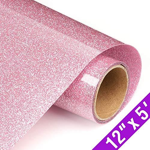Glitter Heat Transfer Vinyl Rolls 12in.x5ft, HTV Vinyl Iron on Vinyl for T Shirts by TransWonder(Pink)