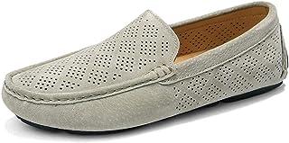 DADIJIER Mocasines de conducción for Hombres Slip-on Flat Slip-on Round Cerrado Plaid Perforated Rubber Lug Sole Suela de ...