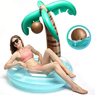 Hill & Amber Palm Tree Pool Float with A Detachable Play Ball, Giant Inflatable Pool Floats, Summer Inflatable Raft, Outdoor Water Lounge for Adults & Kids