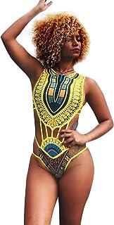 Sexy impresión tribal africana de cuello alto de los bañadores retro Mujeres Bikini recorte Monokini de una pieza del traje de baño