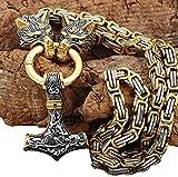 puuuk Vikingo Martillo De Thor Collar, Hombres NóRdico Cabeza De Lobo Colgante, Mjolnir Inoxidable Amuleto Escandinavo Joyas,60cm/24inch