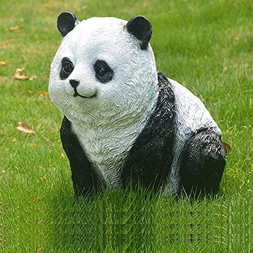 Estatua de jardín Adorno de jardín impermeable Panda Estatua de jardín, Escultura de panda de jardín al aire libre Decoración de animales de paisaje, Adorno de resina impermeable para decoraci