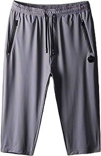 omniscient Men's Shorts Casual Solid Color Pockets Drawstring Summer Shorts with Elastic Waists