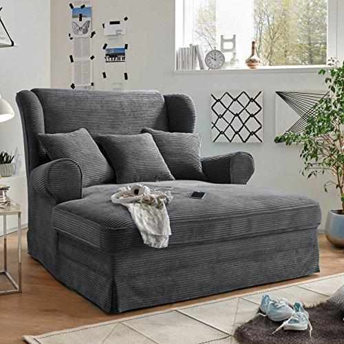 Invicta Interior Design XXL Loveseat Sessel Melbourne anthrazit Cord mit Kissen Ohrensessel Wohnzimmersessel