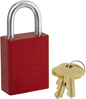 Master Lock 6835RED Safety Series Padlock, Aluminum Body, 1-1/2-Inch Wide Body, 1/4-Inch Diameter Shackle, Red