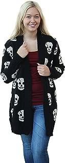 Women's Skull Print Knitted Open Cardigan
