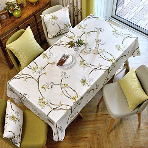 HXC Home beige bloemen bloem tafelkleed katoen linnen Franse stijl eettafel bureau rechthoekig vierkant Niet-strijken eco-vriendelijke tuin tafel loper
