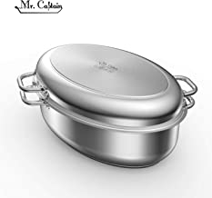 Mr Captain 18/10 Stainless Steel 12 Quart Covered Oval Roaster with Wire Rack,Dishwasher Safe Oven Safe Multi-Use Roasting Pan Oval Stockpot,Induction Compatible 17 Inch
