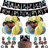 34 pcs Espacio Hombre Lobo Matar Decoración ZSWQ-Banner Globo Decoración para fiestas de videojuegos, suministros para fiestas de cumpleaños, niños y rejillas, decoración de fiesta de cumpleaños