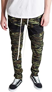 KDNK Men's Tapered Skinny Fit Stretch Twill Drawstring Ankle Zip Camo Moto Pants