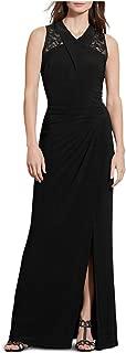Lace-Yoke Jersey Gown (Black, 12)