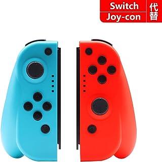 TOPY Nintendo Switch コントローラー Joy-Con の代用品 ネオンブルージャイロ搭載 (R) レッド/ (L) ブルー 適用 ニンテンドースイッチ コントローラー ジャイロ 振動 グリップ付き