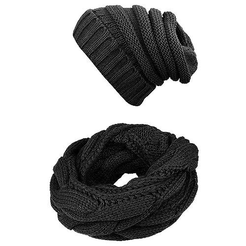 b14926bb119 Knit Infinity Scarf Beanie Hat Set Women Winter Circle Loop Scarfs Scarves
