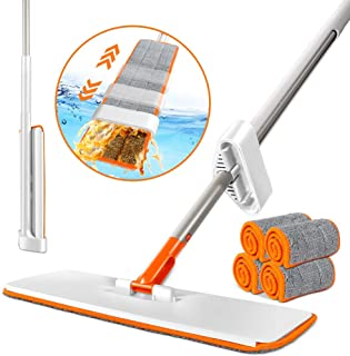フロアモップ 水拭きモップ 掃除用 フロアワイパー 水切り簡単 自立式モップ 手洗い不要 軽量 乾湿両用 部屋掃除 床掃除 4枚パッド付き
