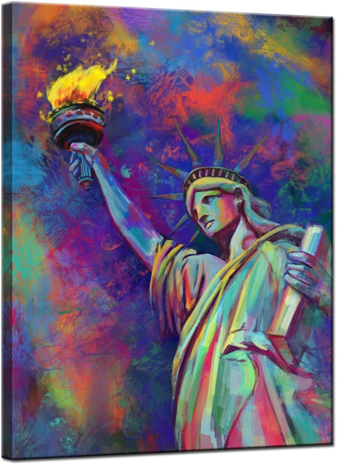sechars Safety and trust Modern Canvas Wall Art Colorful Statue Liberty The of Luxury goods Pa