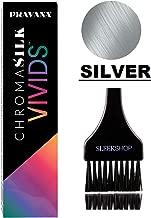 Pravana ChromaSilk VIVIDS Hair Color Shades with Silk & Keratin Amino Acids Dye (with Sleek Brush) Haircolor (Silver)