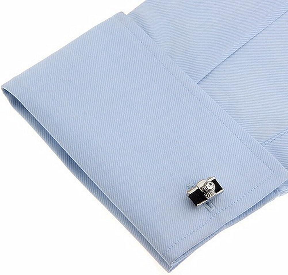 Da.Wa Creative Cemera Zirconia Insert Men Cylinder Cufflinks Tuxedo Shirt Suit Cuff Links Stud