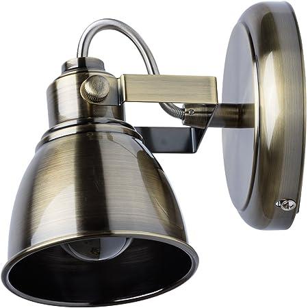 MW-Light 547020101 Spot Mural Intérieur Orientable Style Industriel en Métal couleur Bronze Antique pour Chambre Salle de Bain WC Couloir Cuisine 1x40W E14