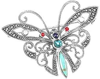 Sterling Silver Marcasite Simulated Turquoise Red Stone Butterfly Brooch Pin