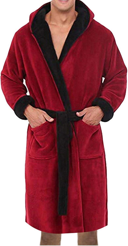 LOVESOO Plus Size Mens Robe Plush Pajamas Indefinitely for Ba Max 87% OFF Men Cotton Soft