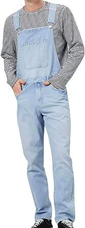 LASPERAL Mens Denim Dungarees Work Vintage Overalls Bib and Braces Regular Fit Straight Bib Jeans