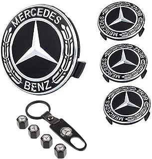 99 Carpro 4PCS for Benz Wheel Center Hub Caps Emblem, 75mm Car Rim Hub Cover Logo + 4 Pack Car Tire Valve Air Caps Fit for Mercedes Benz (Black)
