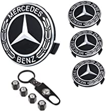 99 Carpro 4PCS for Benz Wheel Center Hub Caps Emblem, 75mm Car Rim Hub Cover Logo + 4 Pack Car Tire Valve Air Caps Fit for Mercedes Benz (Black)