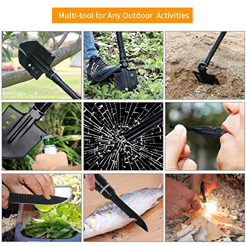 61nvS7U10SL - OSPACE Camping Shovel, Survival Shovel with Wood Saw Edge, Tactical Entrenching Tool for Outdoor Hunting, Camping, Hiking, Emergency Situations