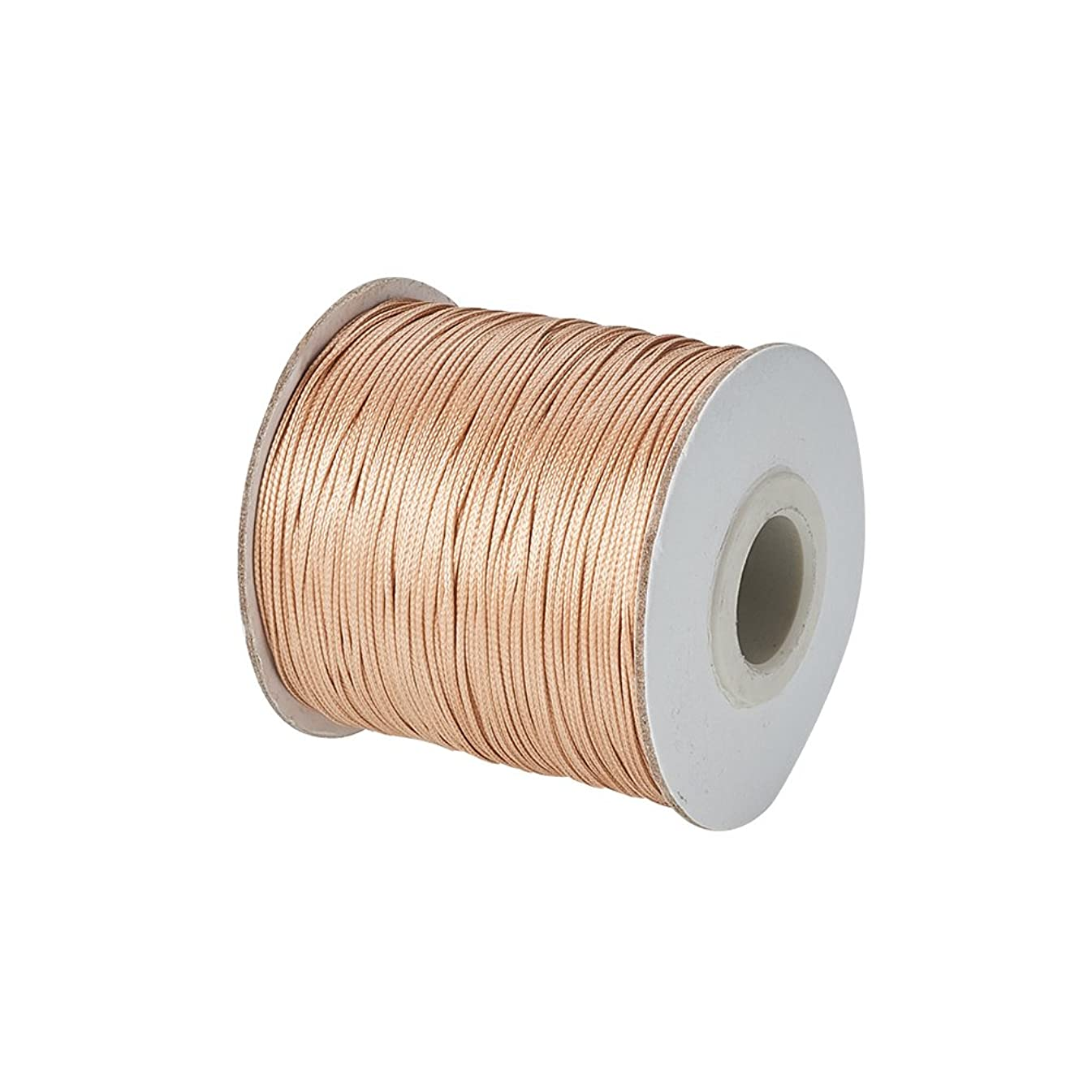 NBEADS 185yards/roll Leather Sewing Stitching Flat Waxed Polyester Cord, Bead Cord, Goldenrod, 0.5mm in Diameter