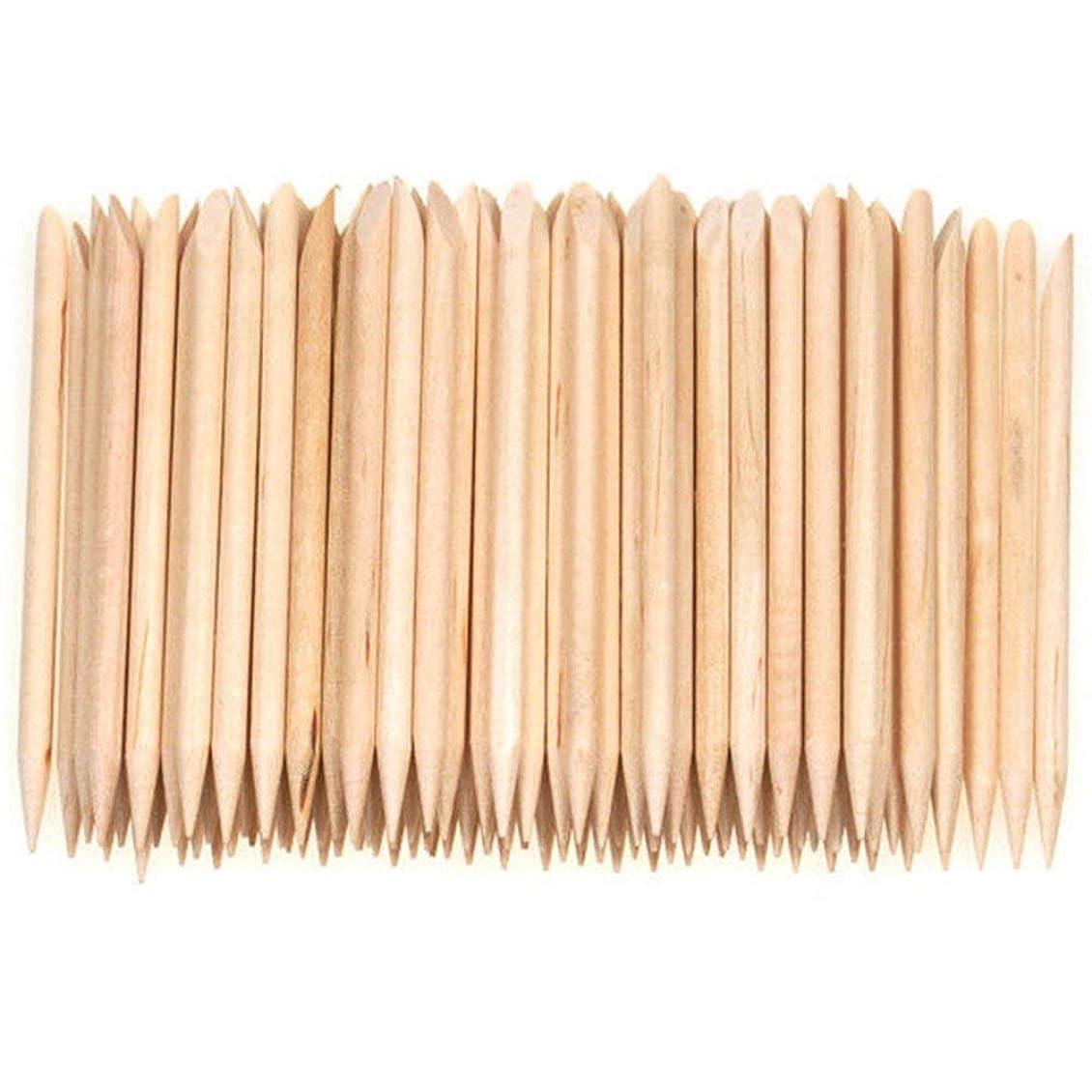 マート効率決定Semoic 100個ネイルアートデザイン木製の棒キューティクルプッシャーリムーバーマニキュアケア