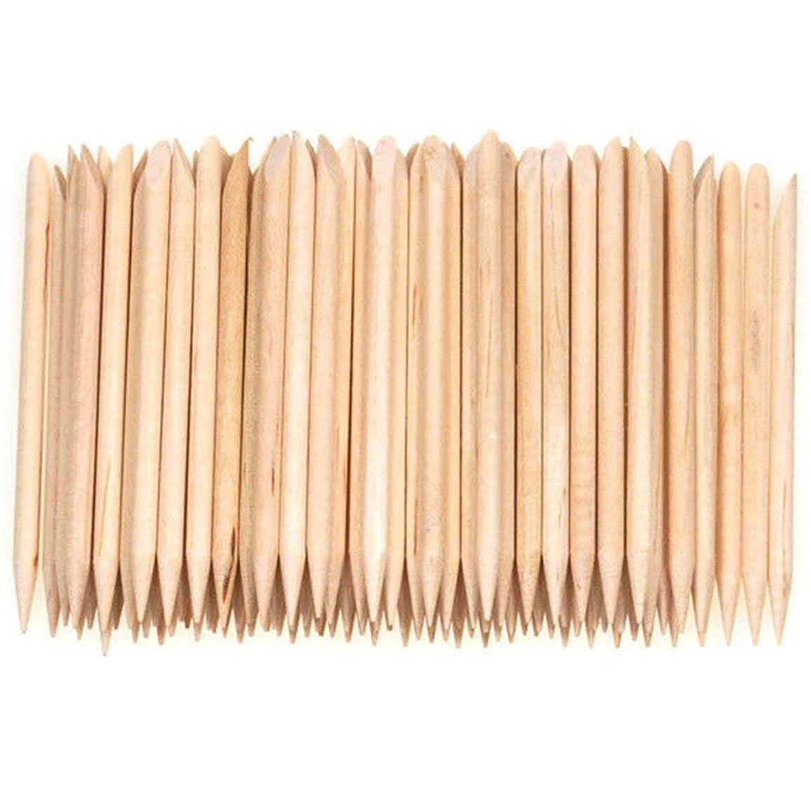 トラフィックケント実質的Semoic 100個ネイルアートデザイン木製の棒キューティクルプッシャーリムーバーマニキュアケア