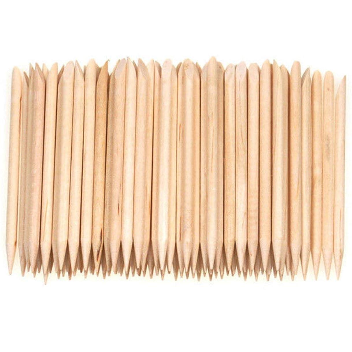 スマイル青写真利用可能Nrpfell 100個ネイルアートデザイン木製の棒キューティクルプッシャーリムーバーマニキュアケア