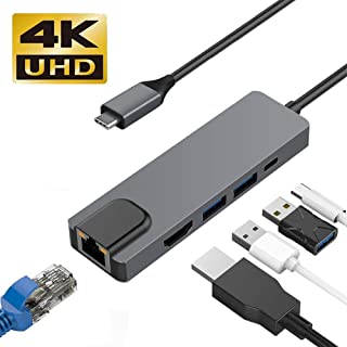 USB C ハブ WETON USB Type-C to hdmi lan 変換アダプター 有線LANポート 5in1 4K MacBook/New MacBook pro/ChromeBook などType-Cポートを搭載するデバイス対応 (5 in 1)