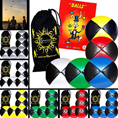 5x Pro Thud Juggling Balls - Deluxe (LEATHER) Professional Juggling Ball Set of 5 + Mister Babache Ball Juggling Book of tricks, and Fabric Travel Bag! (Mix of colors) Color: Mix of colors Model: