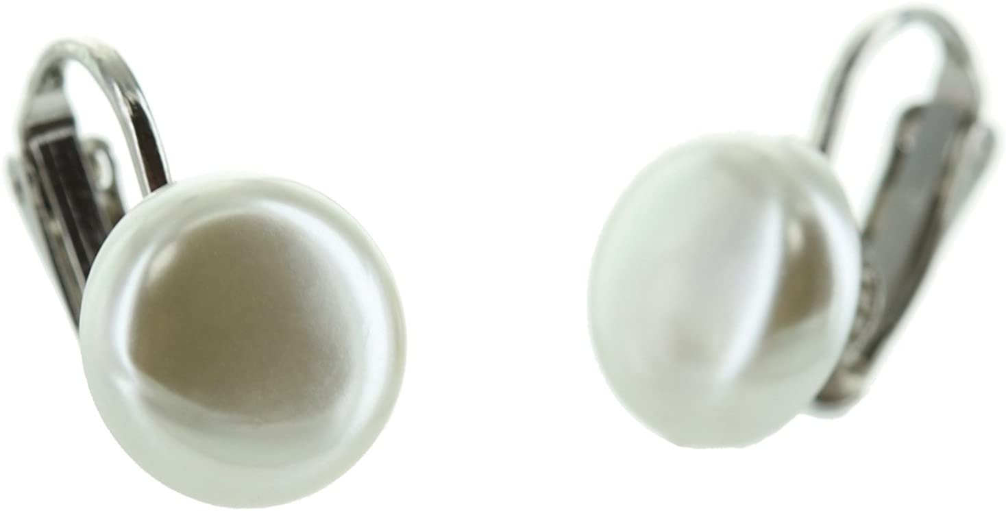 And Lovely Small Button Shaped Simulated Pearl Rhodium Plated Clip On Earrings