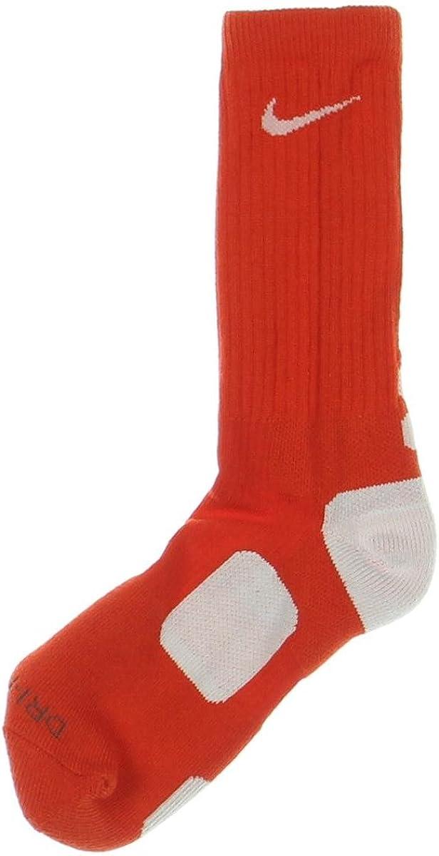 Nike Men's Elite Cushioned Basketball Socks Medium (6-8) Team Orange White