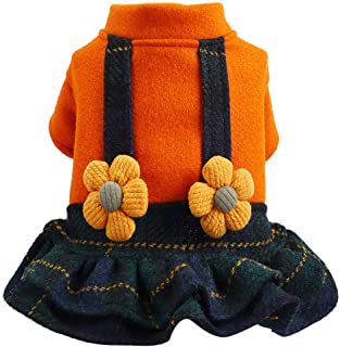Wakeu Dog Winter Dress for Small Dog Sweaters Sweatshirt Female Girl Autumn Warm Flower Sling Skirt Dog Clothes Dachshund Chihuahua Corgi Lovely Fall Dog Coat Walking Outdoor Home