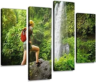 young woman backpacker looking at the waterfall in jungles Ecotourism Canvas Print Artwork Wall Art Pictures Framed Digita...