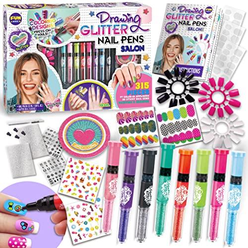 Kids Nail Kit for Girls, FunKidz Ultimate 280Pcs Nail Art with Nail Polish Pens Combo Kit Glitter...