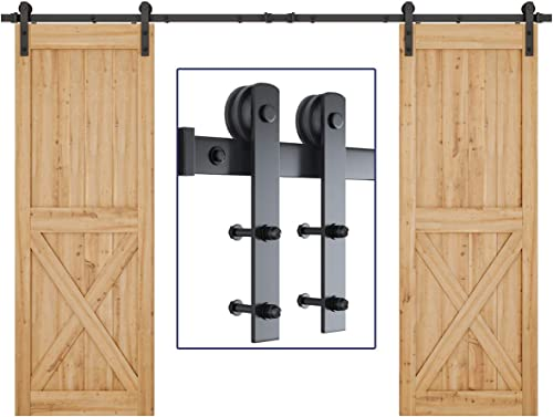 """popular SMARTSTANDARD 10ft Heavy Duty Double Door Sliding Barn Door Hardware Kit - new arrival Smoothly and Quietly - Easy to online sale Install - Includes Step-by-Step Installation Instruction - Fit 30"""" Wide Door Panel(I Shape) online sale"""