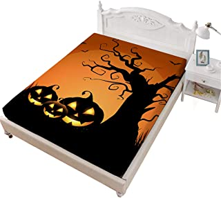Fitted Sheet ONLY 1 Full Size 3D Spooky Punmpkin Printed Breathable Orange Bed Sheet for Kids Halloween Decor