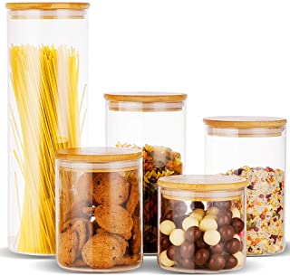 Erreloda Glass Food Storage Jars Containers, Glass Storage Jar with Airtight Bamboo Lids Set of 5 Kitchen Glass Canisters For Coffee, Flour, Sugar, Candy, Cookie, Spice and More