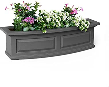 1 Pc of Window Planter Box 36 x 11.5 in. Graphite Grey Plastic Built-in Overflow Drains