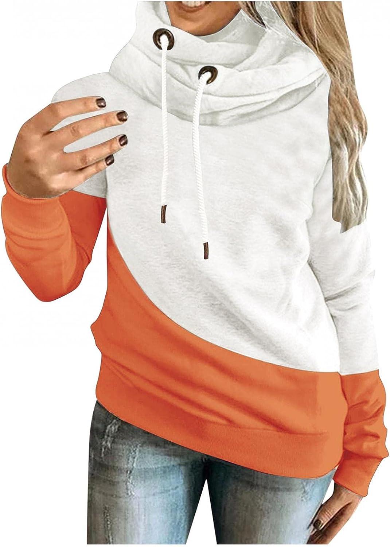 Hoodies for Women, Women's Crewneck Contrast Color Long Sleeve Hooded Sweatshirts Teen Girls Drawstring Pullover Sweater