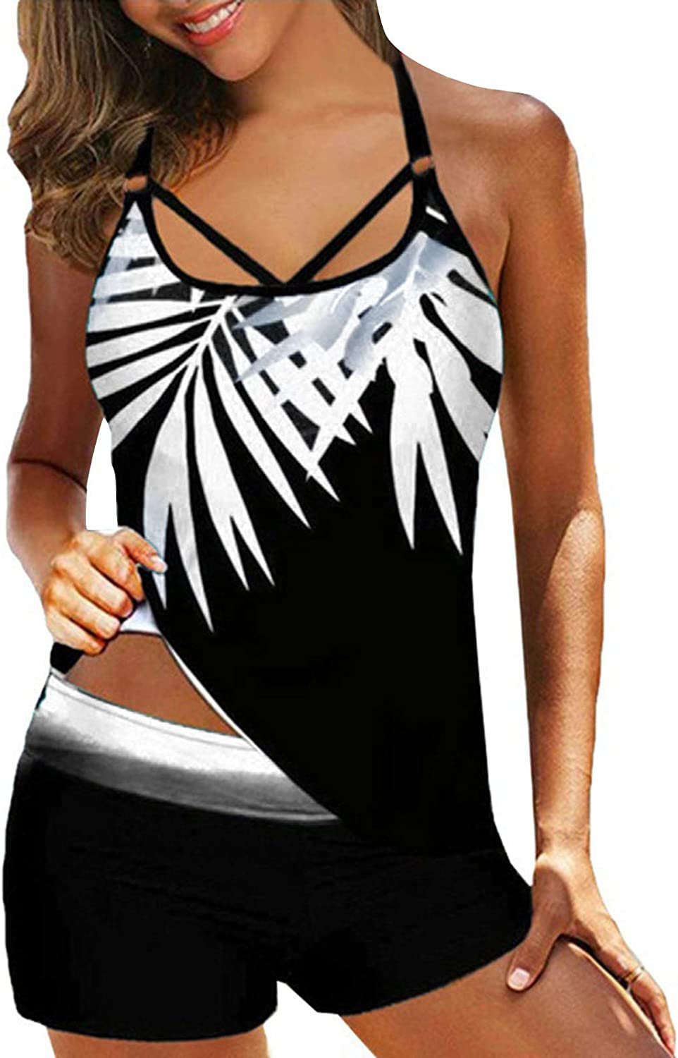 AODONG Swimsuit for Women Tankini Two Piece Print Strappy Back Swimsuits Swimdress Bathing Suits with Shorts