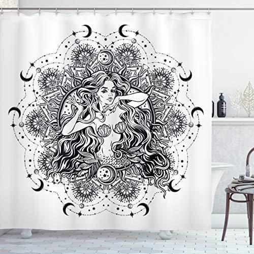 ABAKUHAUS Vintage Meerjungfrau Duschvorhang, Mädchen Mond Mandala, Hochwertig mit 12 Haken Set Leicht zu pflegen Farbfest Wasser Bakterie Resistent, 175x240 cm, Charcoal Grau Weiß