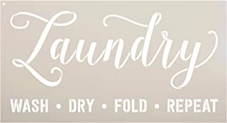 Laundry - Wash Fold Dry Repeat - Word Stencil - STCL1980 - by StudioR12 (16
